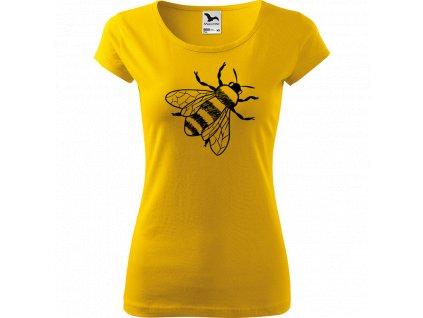 Ručně malované triko žluté s černým motivem - Včela