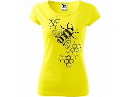 Ručně malované triko citronové s černým motivem - Včela s plástvemi