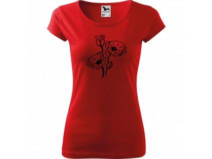 Ručně malované triko červené s černým motivem - Vlčí máky