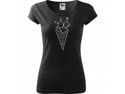 Ručně malované triko černé s bílým motivem - Zmrzlina Čokoláda