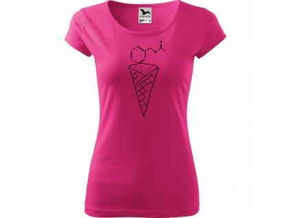 Ručně malované triko růžové s černým motivem - Zmrzlina Jahoda