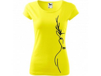 Ručně malované triko citronové s černým motivem - Jelen na boku