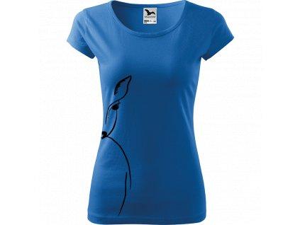 Ručně malované triko azurové s černým motivem - Srnka na boku
