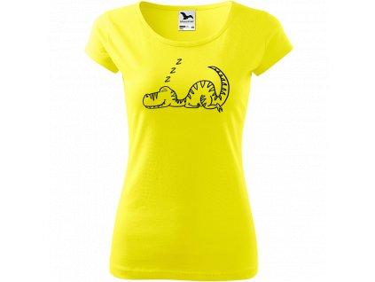 Ručně malované triko citronové s černým motivem - Dinosaur