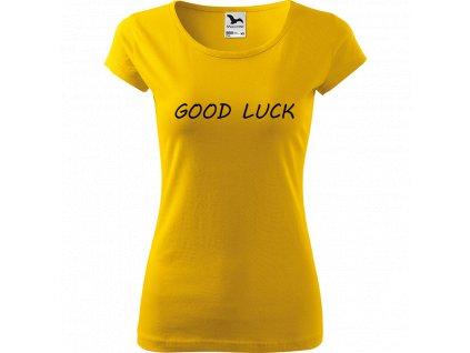Ručně malované triko žluté s černým motivem - Good Luck