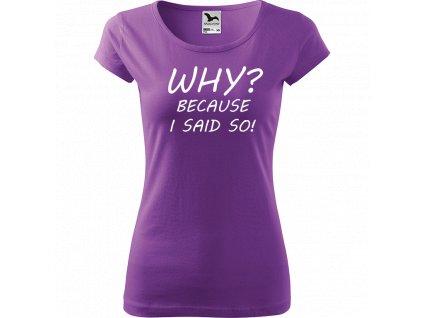Ručně malované triko fialové s bílým motivem - Why? Because I said so!