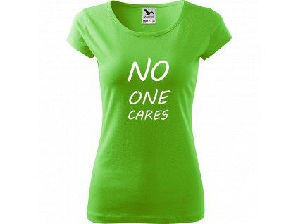 Ručně malované triko světle zelené s bílým motivem - No one cares