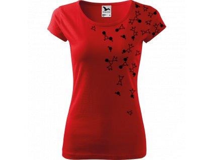 Ručně malované triko červené s černým motivem - Molekuly