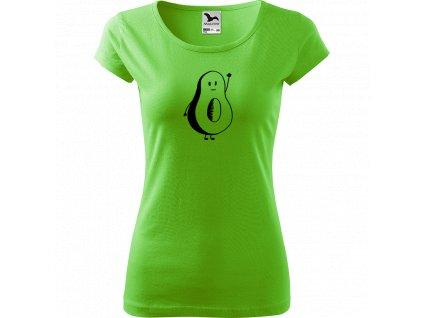 Ručně malované triko světle zelené s černým motivem - Pan Avokádo