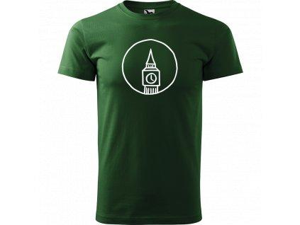 Ručně malované triko trávově zelené s bílým motivem - Big Ben