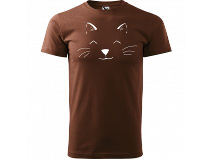 Ručně malované triko čokoládové s bílým motivem - Cat Face