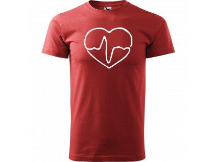Ručně malované triko bordó s bílým motivem - Doktorské srdce
