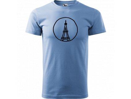Ručně malované triko nebesky modré s černým motivem - Eiffellova věž