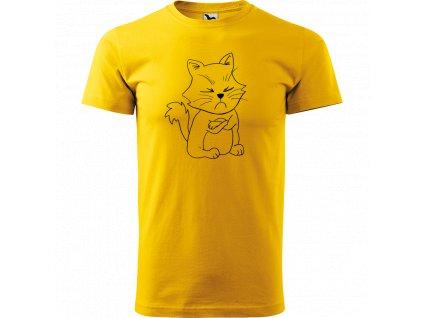 Ručně malované triko  s černým motivem - Grumpy Kitty