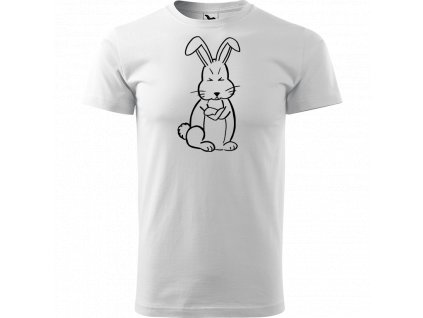 Ručně malované triko bílé s černým motivem - Grumpy Rabbit