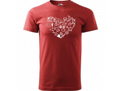 Ručně malované triko bordó s bílým motivem - Chemikovo Srdce