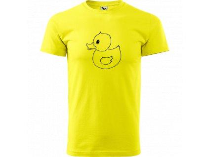 Ručně malované triko citronové s černým motivem - Kachna