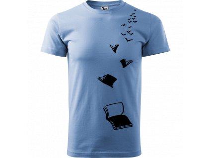 Ručně malované triko nebesky modré s černým motivem - Knihy létající