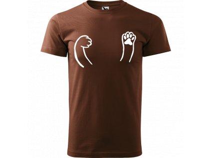 Ručně malované triko čokoládové s bílým motivem - Kočičí packy