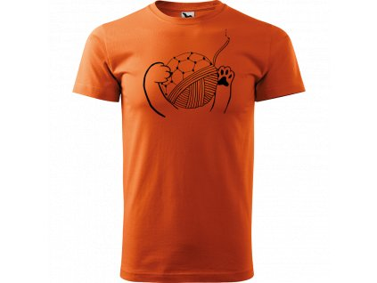 Ručně malované triko oranžové s černým motivem - Kočičí packy s Fullerenem