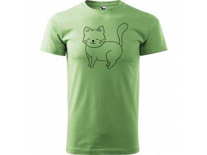 Ručně malované triko tyrkysové s černým motivem - Kočka