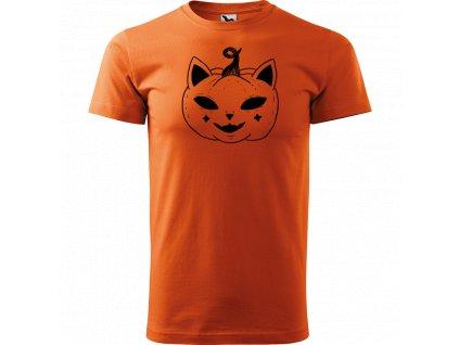 Ručně malované triko oranžové s černým motivem - Kočka dýně