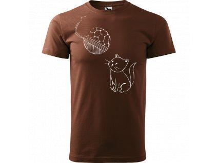 Ručně malované triko čokoládové s bílým motivem - Kotě s Fullerenem