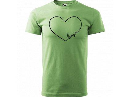 """Ručně malované triko tyrkysové s černým motivem - """"Love You"""" srdce"""