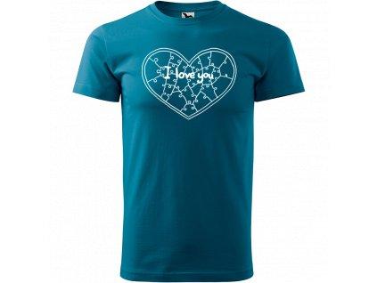 Ručně malované triko petrolejové s bílým motivem - Puzzle Srdce