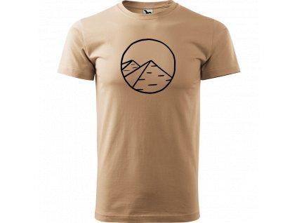 Ručně malované triko pískové s černým motivem - Pyramidy