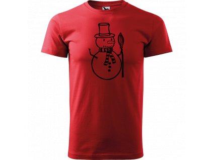Ručně malované triko červené s černým motivem - Sněhulák s koštětem