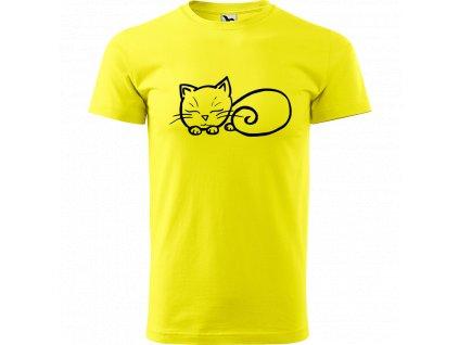 Ručně malované triko citronové s černým motivem - Spící kotě