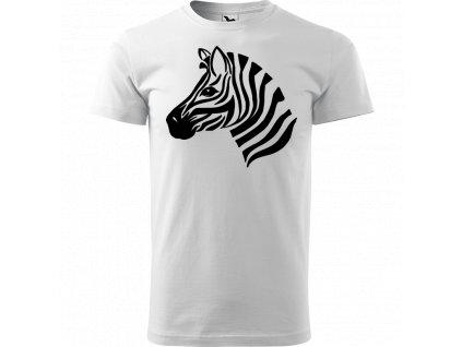 Ručně malované triko bílé s černým motivem - Zebra