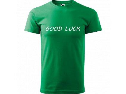 Ručně malované triko středně zelené s bílým motivem - Good luck