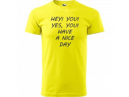Ručně malované triko citronové s černým motivem - Hey you