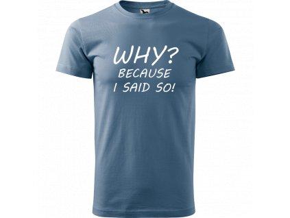 Ručně malované triko denim s bílým motivem - Why? because I said so
