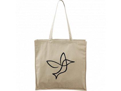Plátěná taška Carry přírodní s černým motivem - Jednotahové - Kolibřík