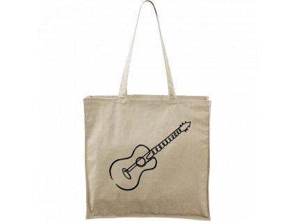 Plátěná taška Carry bílá s bílým motivem - Jednotahové - Kytara akustická