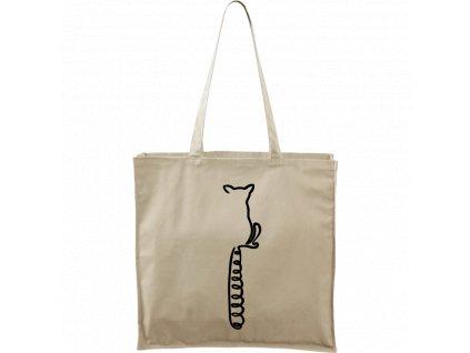 Plátěná taška Carry přírodní s černým motivem - Jednotahové - Lemur
