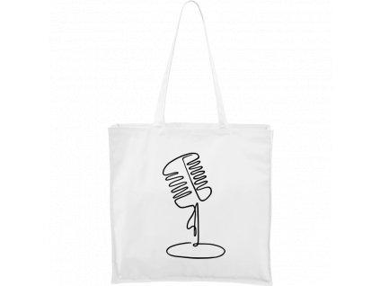 Plátěná taška Carry bílá s černým motivem - Jednotahové - Mikrofon retro