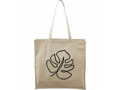 Plátěná taška Carry přírodní s černým motivem - Jednotahové - Monstera List