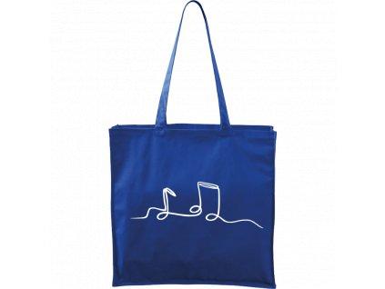 Plátěná taška Carry modrá s bílým motivem - Jednotahové - Noty