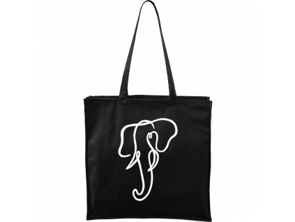 Plátěná taška Carry černá s bílým motivem - Jednotahové - Slon