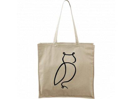 Plátěná taška Carry přírodní s černým motivem - Jednotahové - Sova