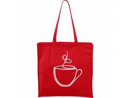Plátěná taška Carry červená s bílým motivem - Jednotahové - Šálek