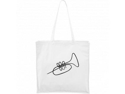 Plátěná taška Carry bílá s černým motivem - Jednotahové - Trumpeta - 1