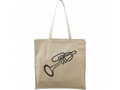 Plátěná taška Carry přírodní s černým motivem - Jednotahové - Trumpeta - 2