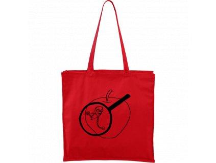 Plátěná taška Carry červená s černým motivem - Červ na jablku
