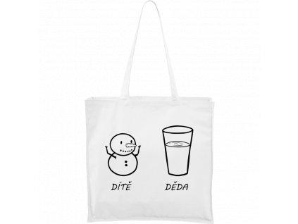 Plátěná taška Carry bílá s černým motivem - Dítě sněhulák, děda sněhulák