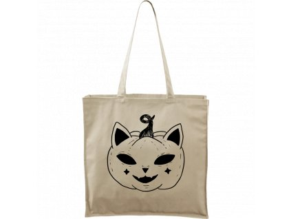 Plátěná taška Carry přírodní s černým motivem - Halloween kočka - Dýně